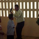 Our head teacher dancing with his crutch